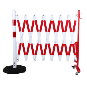 Gard protectie flexibil roti si stalp cu baza mobila alb/rosu 4000mm