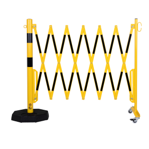 Gard protectie flexibil roti si stalp cu baza mobila galben/negru 3600mm