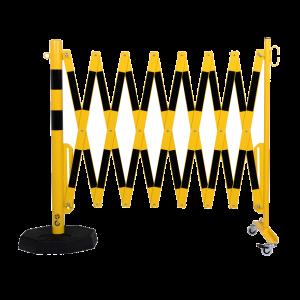 Gard protectie flexibil roti si stalp cu baza mobila galben/negru 4000mm