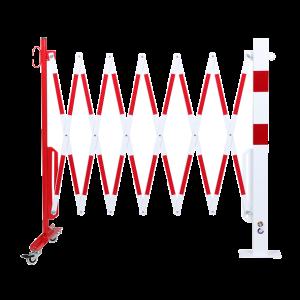 Gard protectie flexibil roti si stalp patrat fixare podea alb/rosu 3600mm