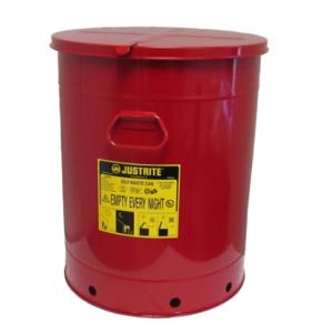 Recipient antifoc colectare lavete uleioase rosu 80 litri fara pedala