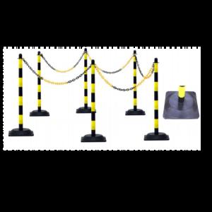 Set 6 stalpi protectie cu lant galben/negru