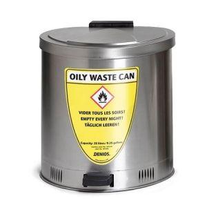 Recipient antifoc colectare lavete uleioase inox 35 litri